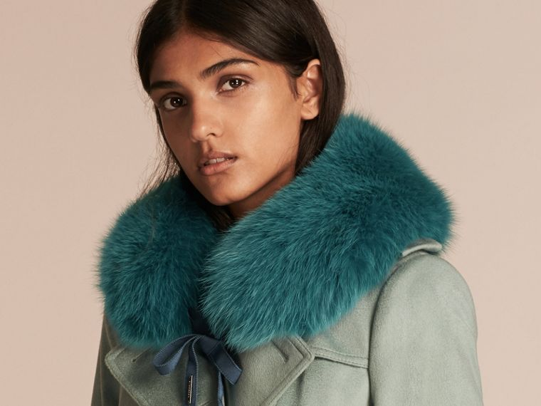Fox Fur Collar with Check Cashmere Lining in Dark Aqua - cell image 2