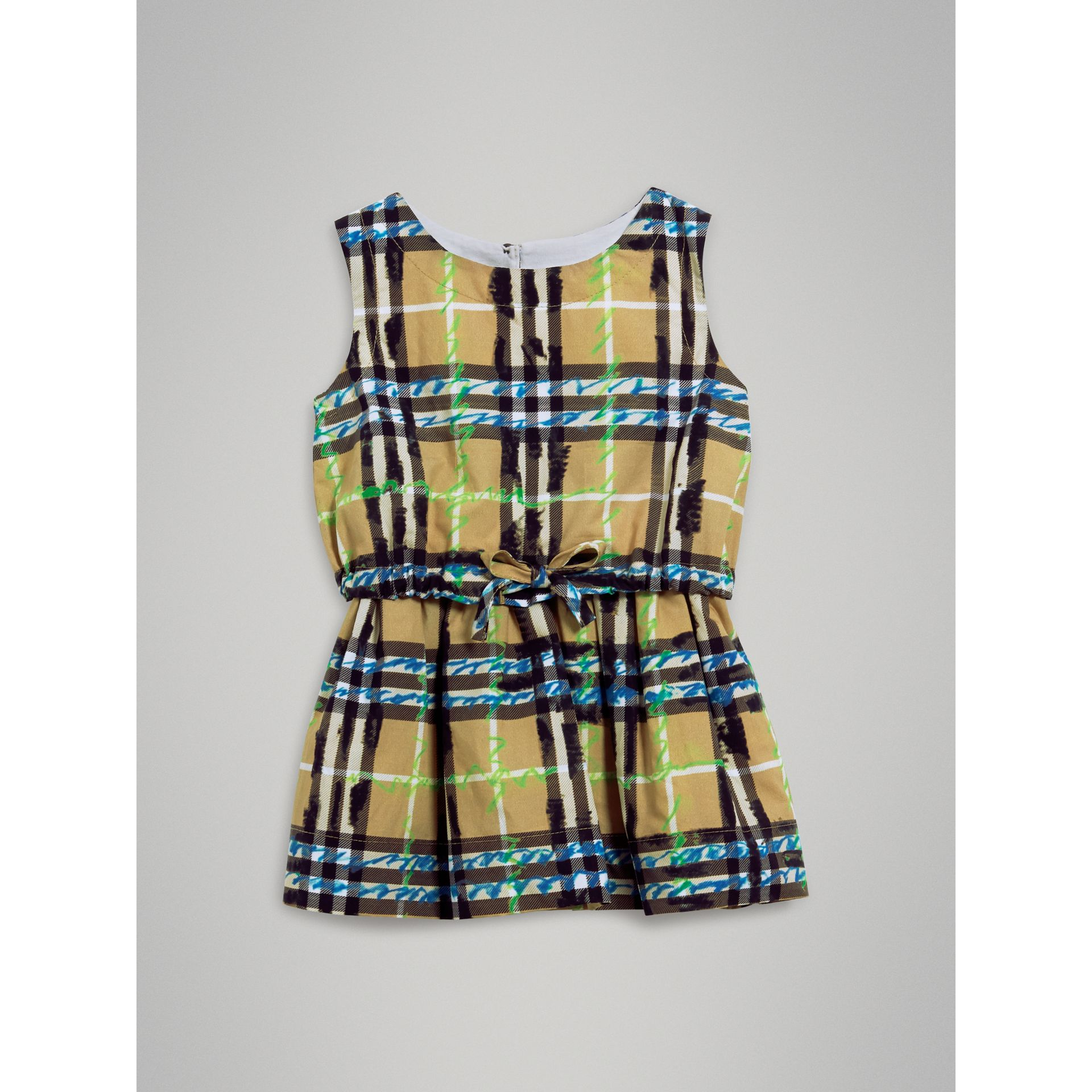 Scribble Check Print Cotton Drawcord Dress in Bright Blue | Burberry United States - gallery image 2