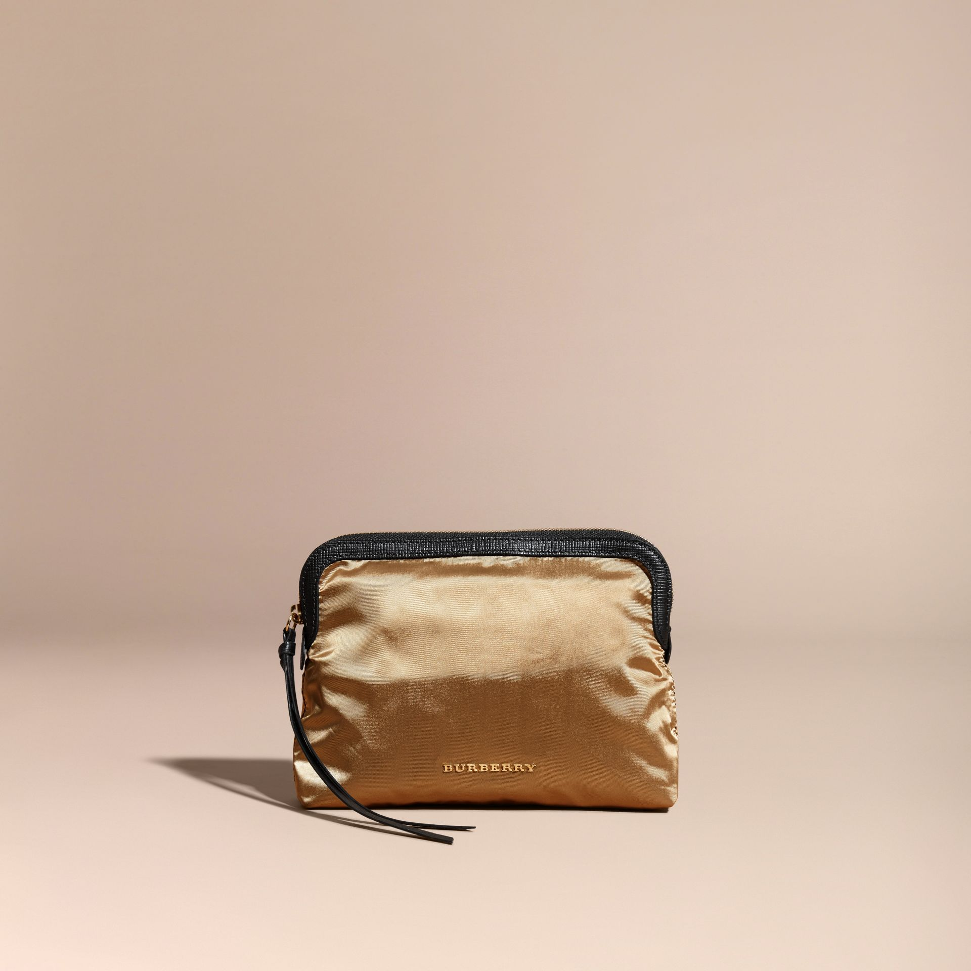 Large Zip-top Leather-trimmed Technical Nylon Pouch - Women | Burberry - gallery image 7
