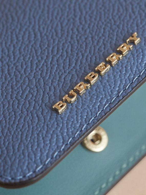 Leather and Haymarket Check ID Card Case Charm in Steel Blue/multi - Women | Burberry Hong Kong - cell image 3