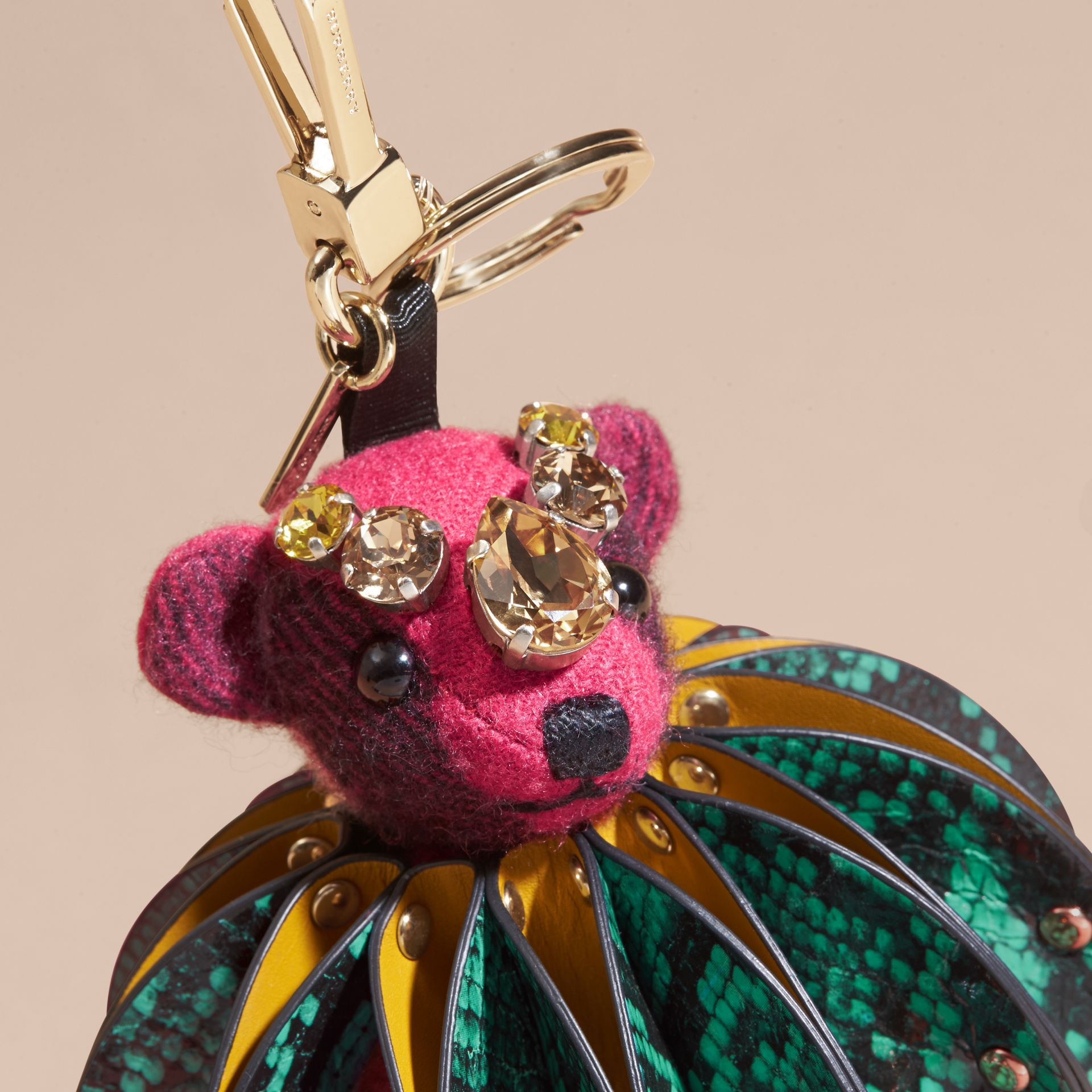 Thomas Bear Charm in Ruffled Leather with Crystals in Fuchsia Pink - Women | Burberry United States - gallery image 1