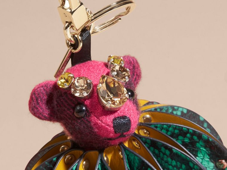 Thomas Bear Charm in Ruffled Leather with Crystals in Fuchsia Pink - Women | Burberry - cell image 1