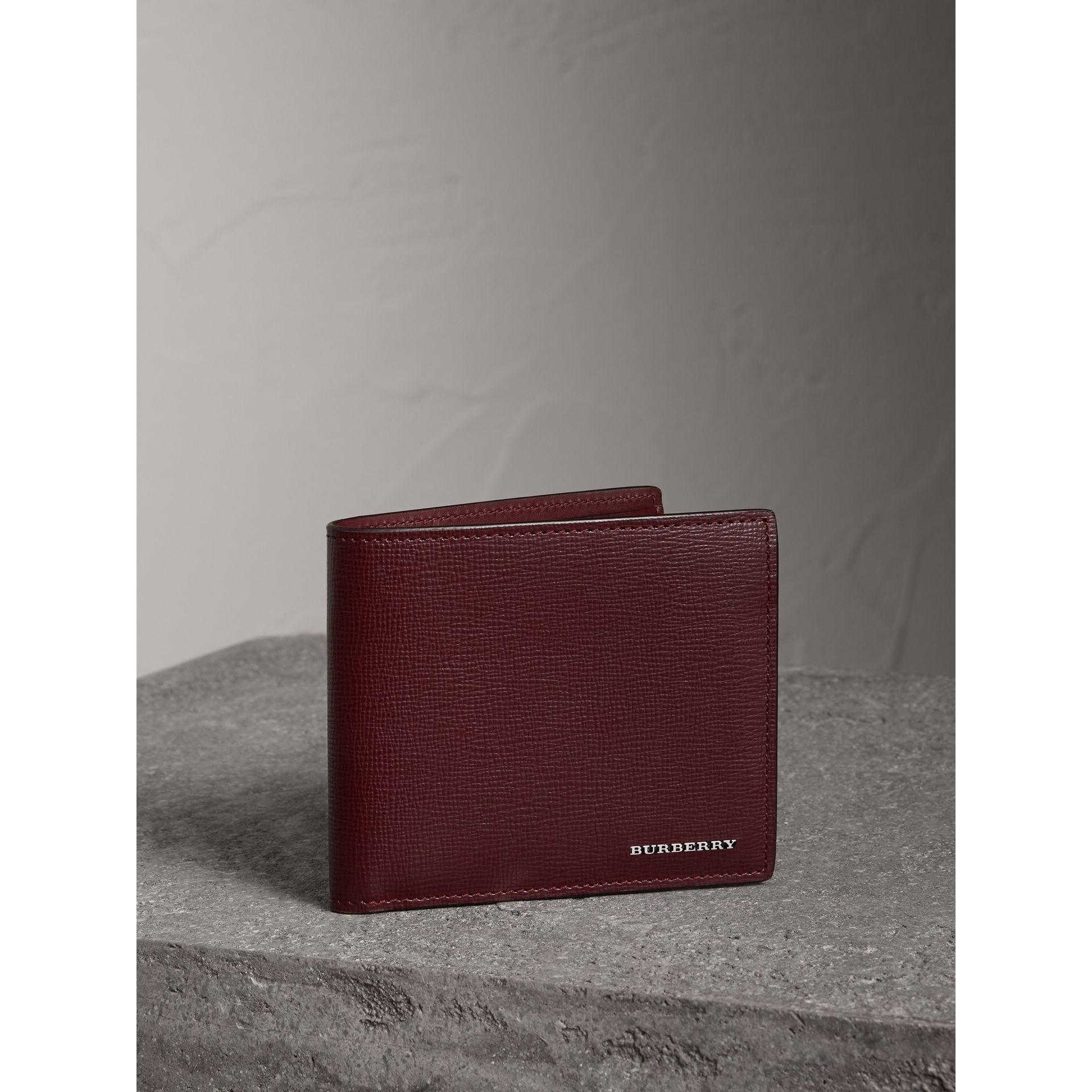 London Leather International Bifold Wallet in Burgundy Red | Burberry Singapore - gallery image 0