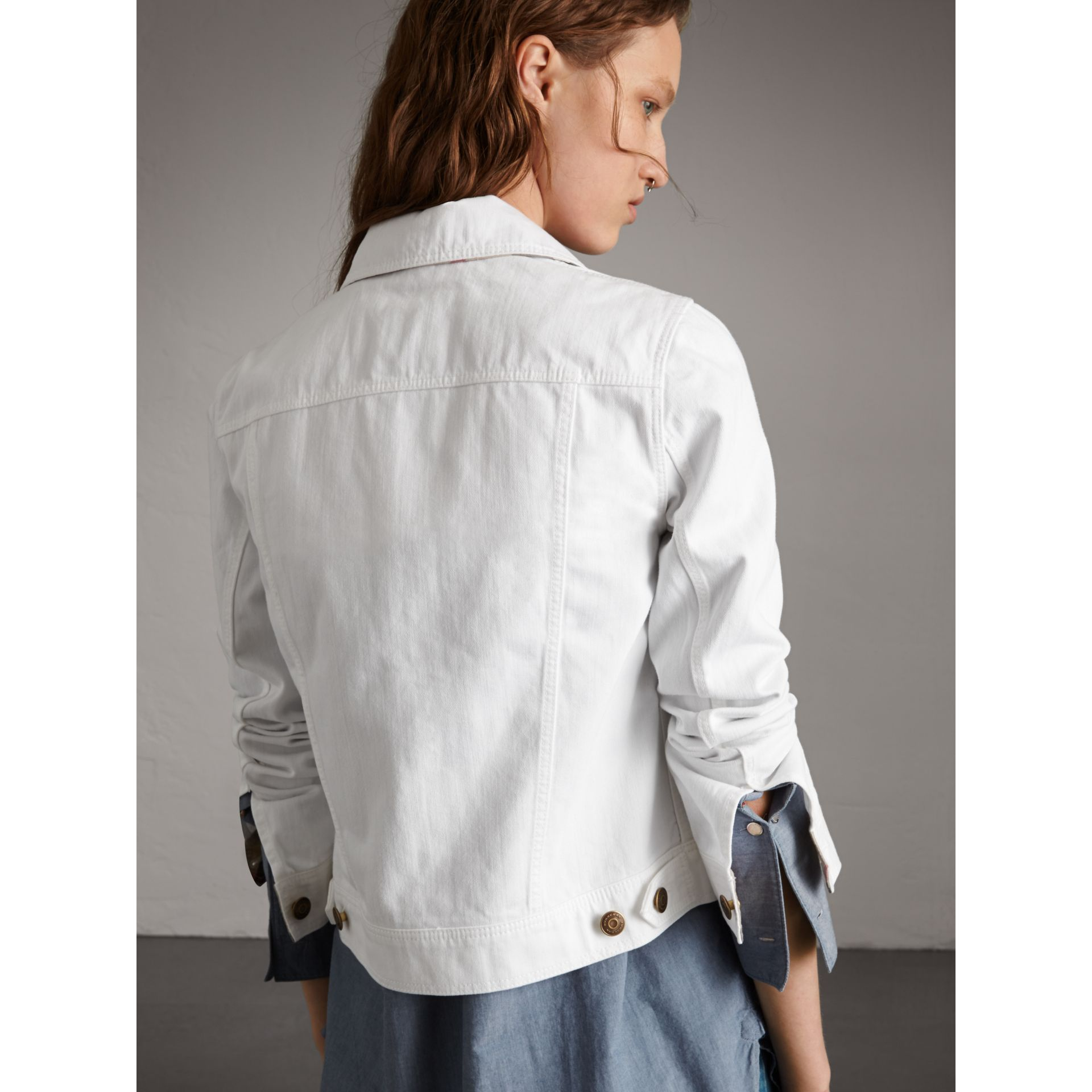 Check Detail Denim Jacket in White - Women | Burberry - gallery image 3
