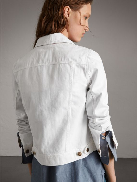 Check Detail Denim Jacket in White - Women | Burberry - cell image 2