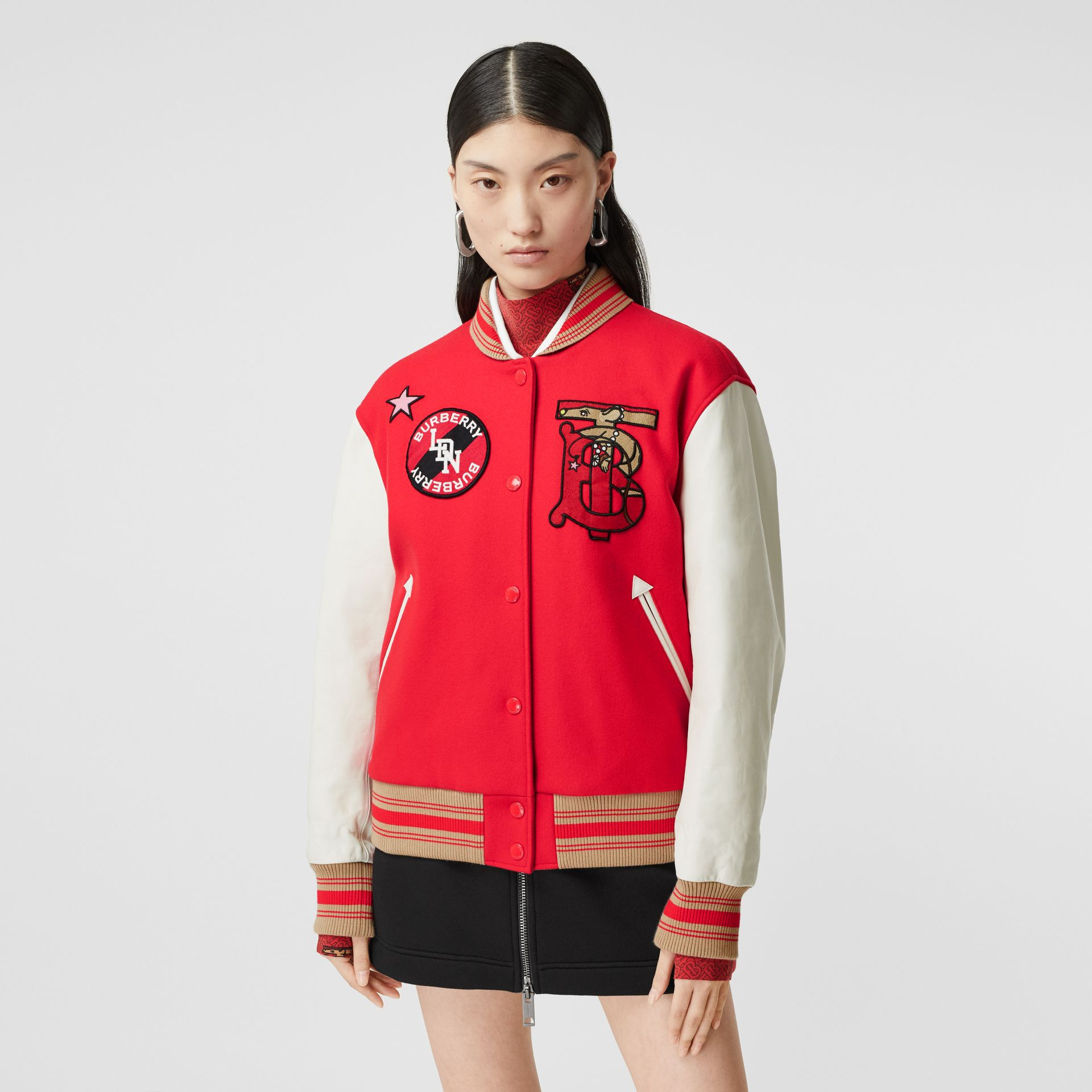 Contrast Sleeve Monogram Motif Wool Bomber Jacket in Bright Red - Women | Burberry - gallery image 4
