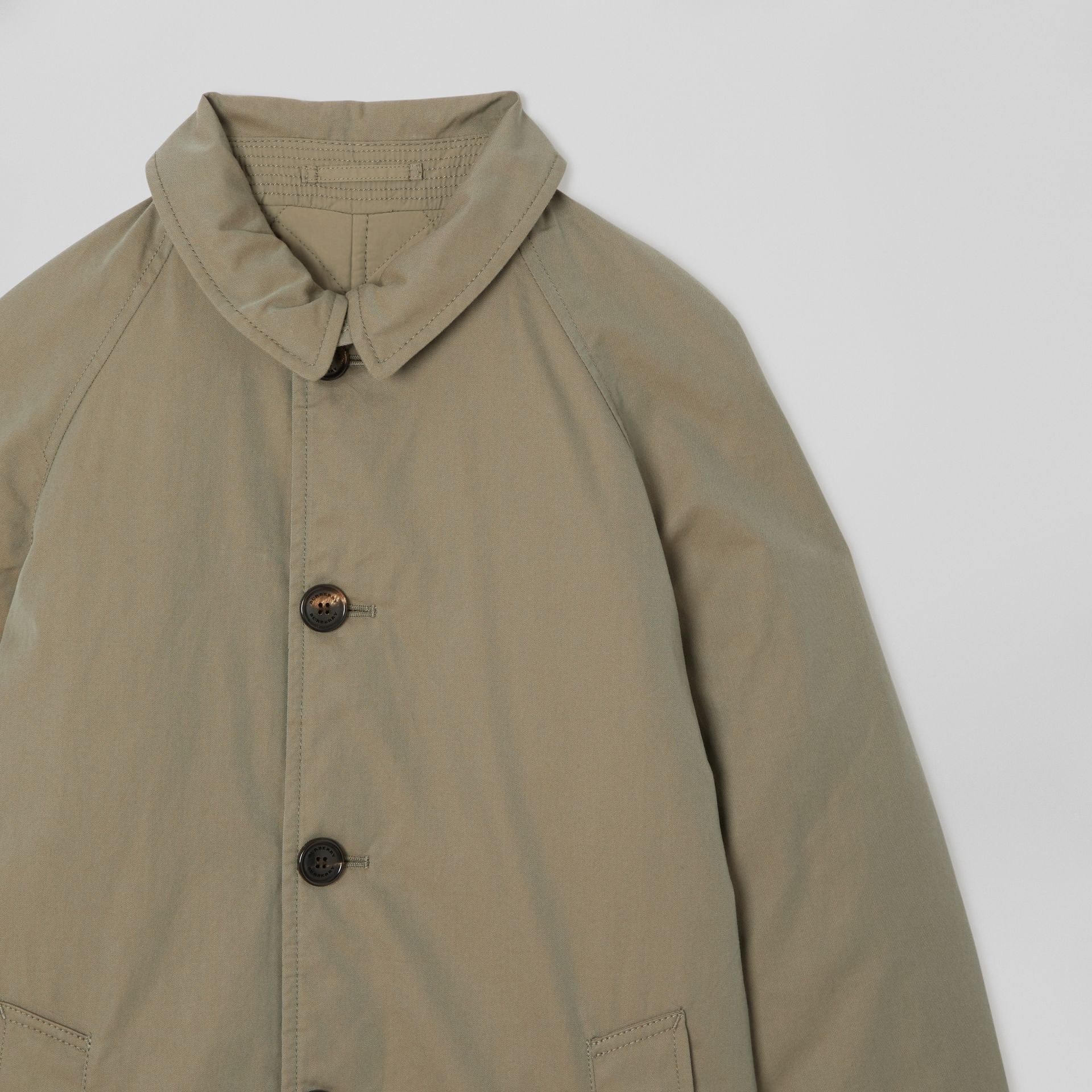 Reversible Tropical Gabardine Car Coat in Chalk Green | Burberry - gallery image 4