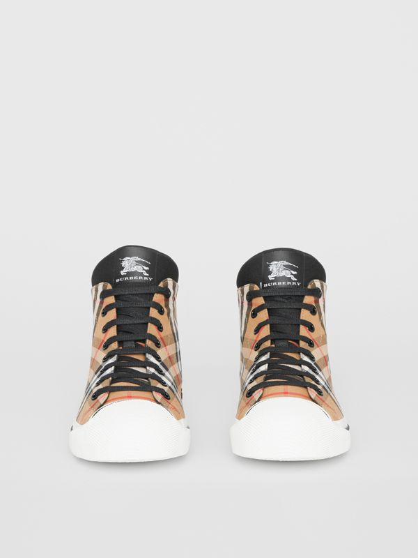 Vintage Check and Neoprene High-top Sneakers in Antique Yellow - Women | Burberry - cell image 3