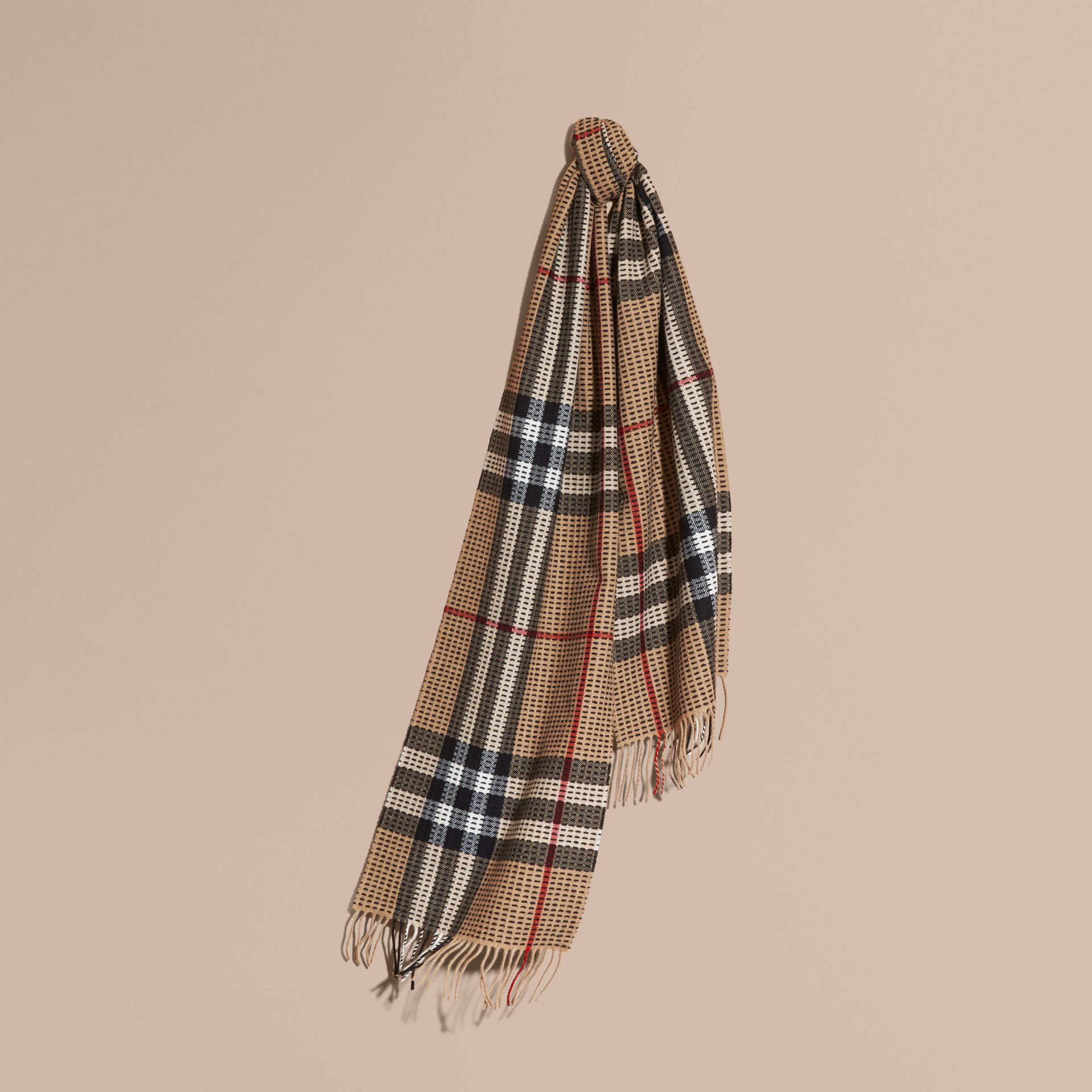 Camel check The Classic Cashmere Scarf in Check with Topstitch Detail Camel - gallery image 6