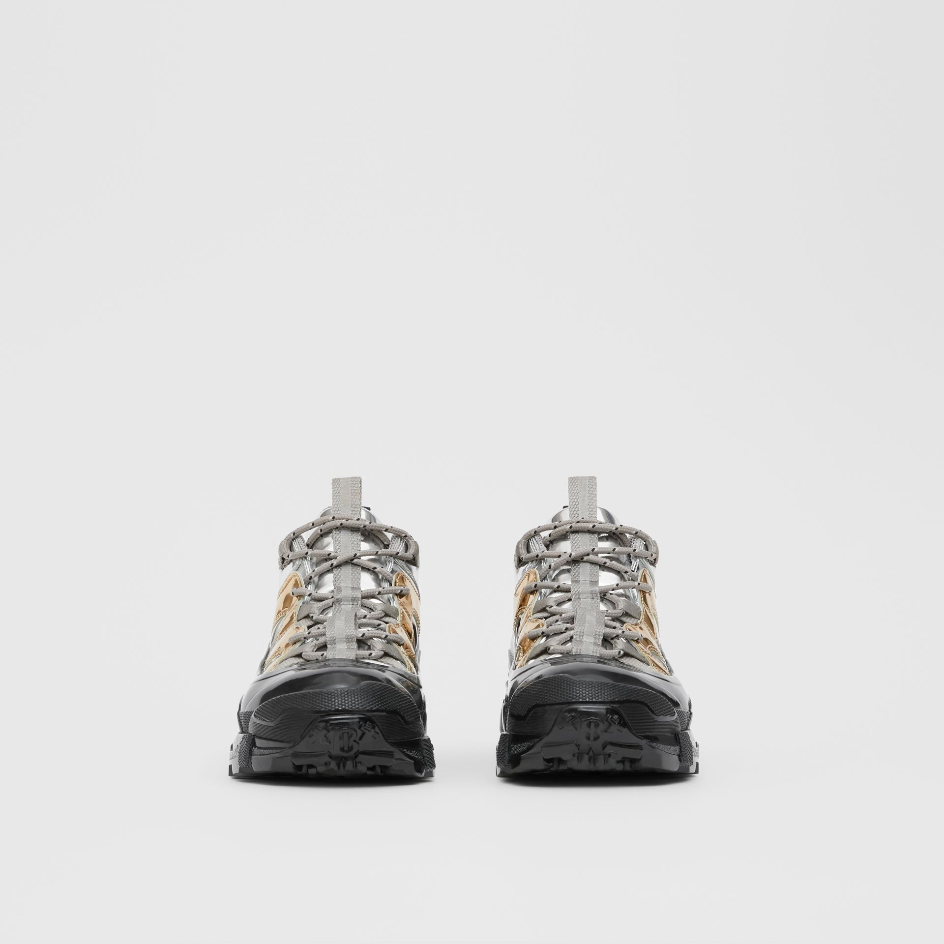 Two-tone Metallic Leather Arthur Sneakers in Silver/gold - Women | Burberry United Kingdom - gallery image 2