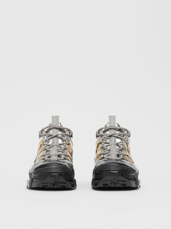 Two-tone Metallic Leather Arthur Sneakers in Silver/gold - Women | Burberry United Kingdom - cell image 2