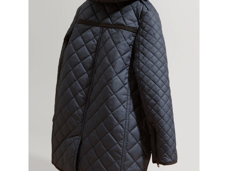 Diamond-quilted Coat with Detachable Hood in Ink Blue - Girl | Burberry Hong Kong - cell image 2