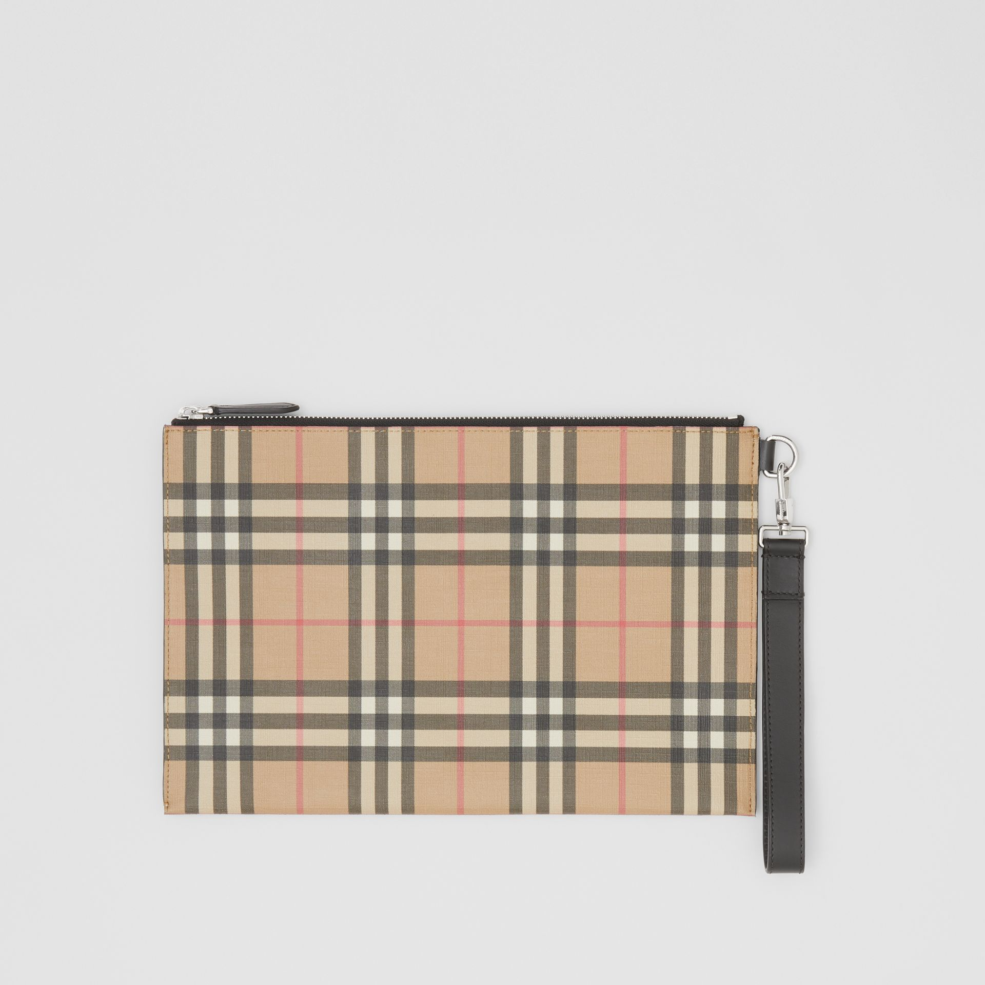 Vintage Check E-canvas and Leather Zip Pouch in Archive Beige - Men | Burberry - gallery image 0