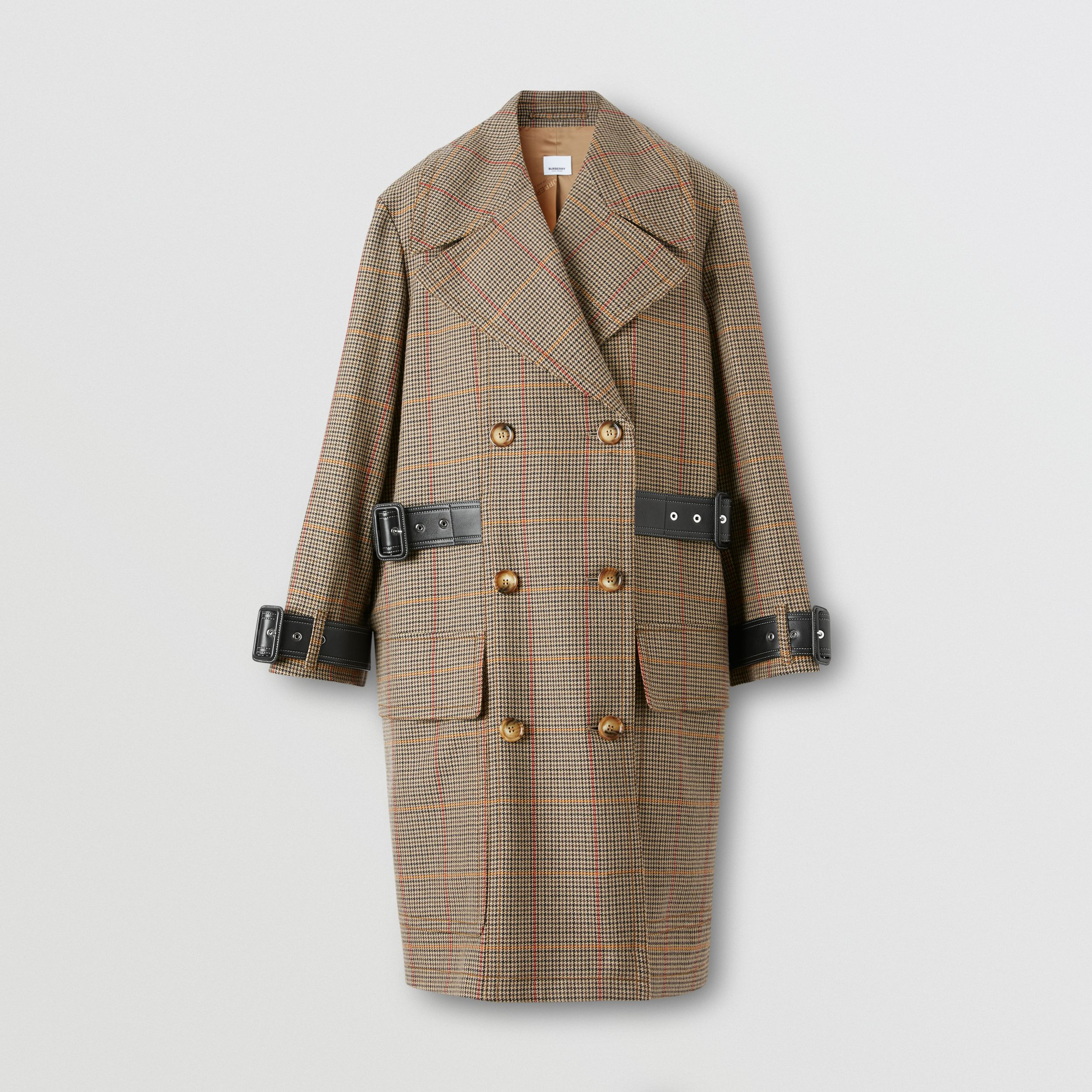 Houndstooth Check Wool Double-breasted Coat in Dark Brown - Women | Burberry - 4