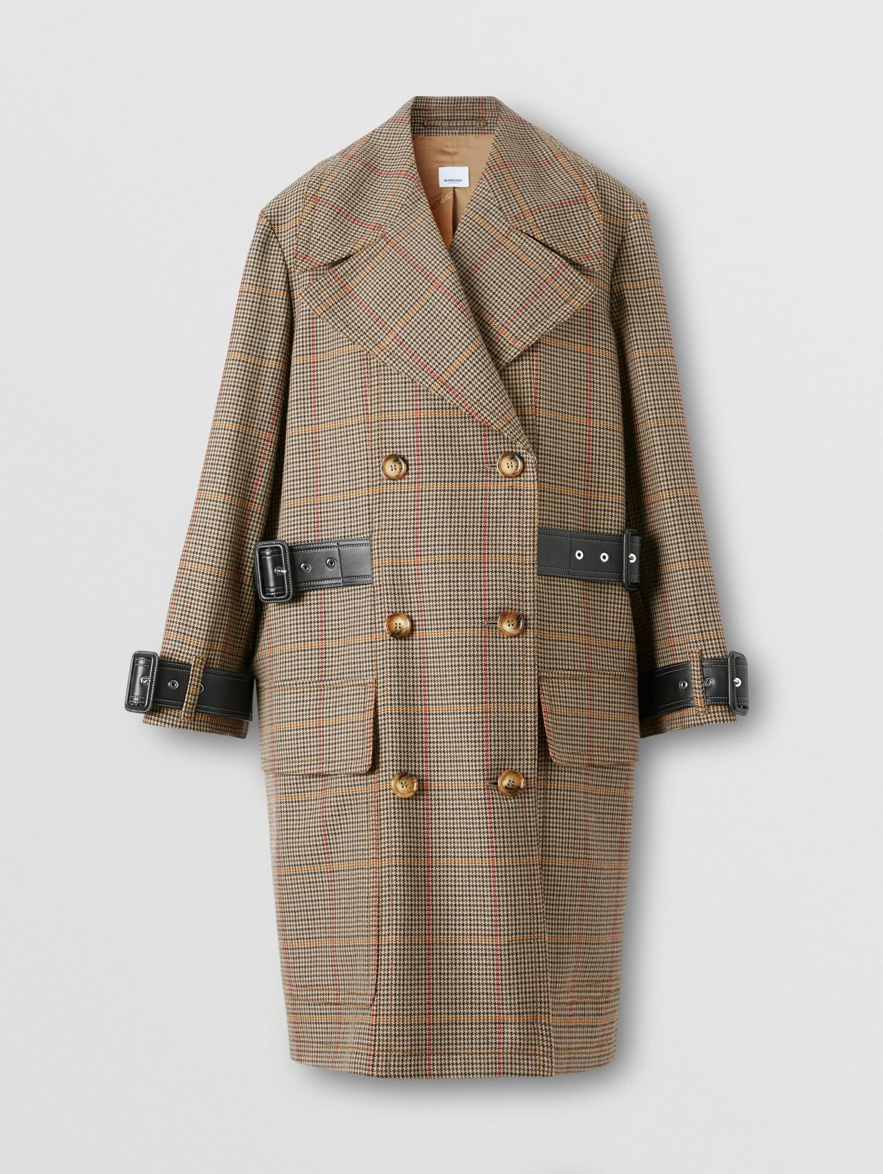 Houndstooth Check Wool Double-breasted Coat (Dark Brown)
