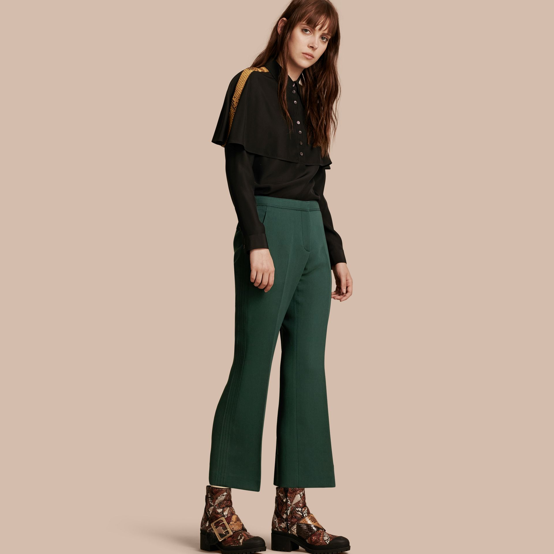 Deep green Cropped Tailored Trousers Deep Green - gallery image 1