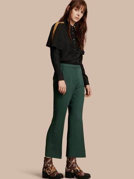 Cropped Tailored Trousers Deep Green