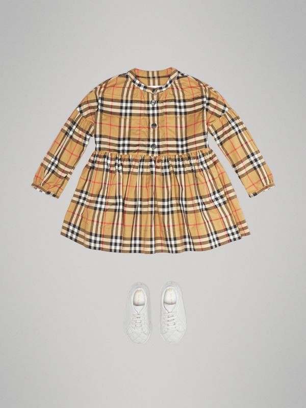 Gathered Sleeve Vintage Check Cotton Dress in Antique Yellow | Burberry Singapore - cell image 2
