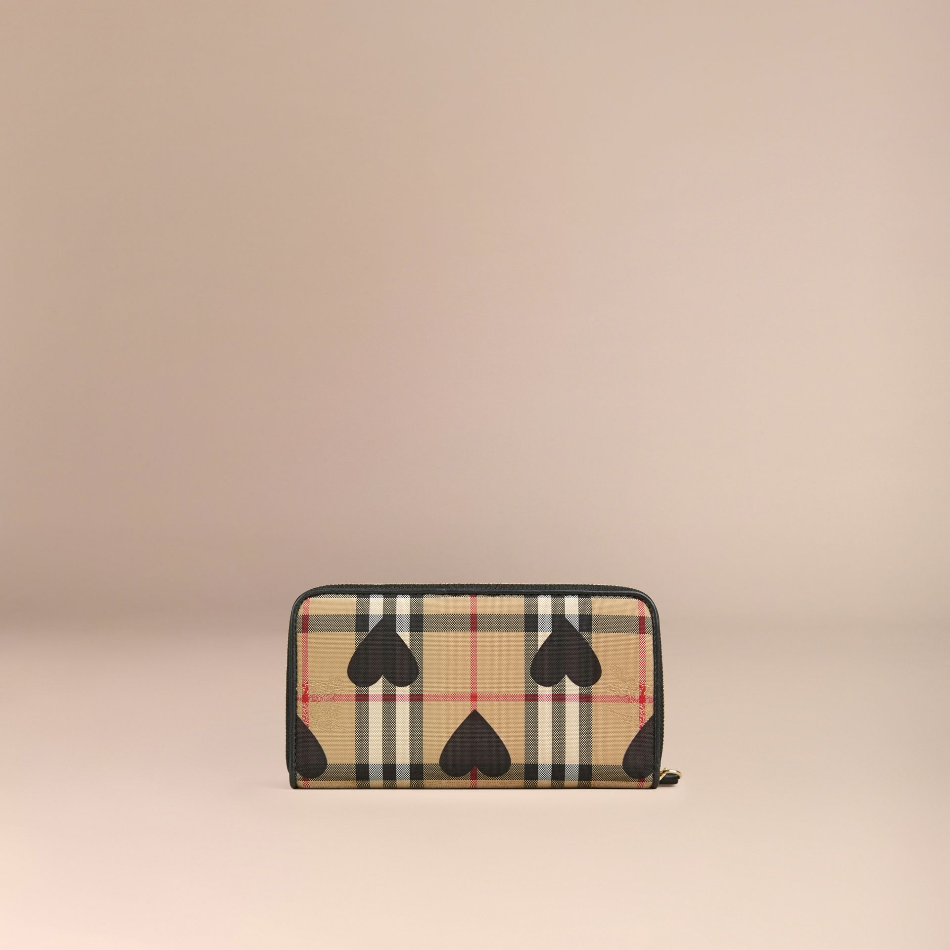 Black Horseferry Check and Hearts Ziparound Wallet Black - gallery image 4