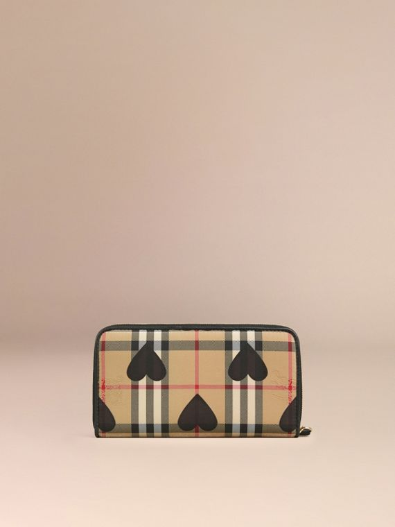 Black Horseferry Check and Hearts Ziparound Wallet Black - cell image 3