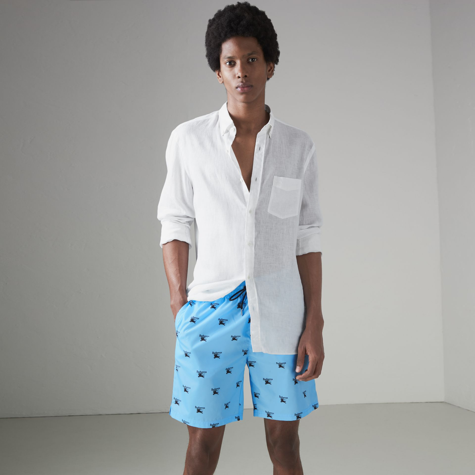 Archive Logo Drawcord Swim Shorts in Sky Blue - Men | Burberry Australia - gallery image 0