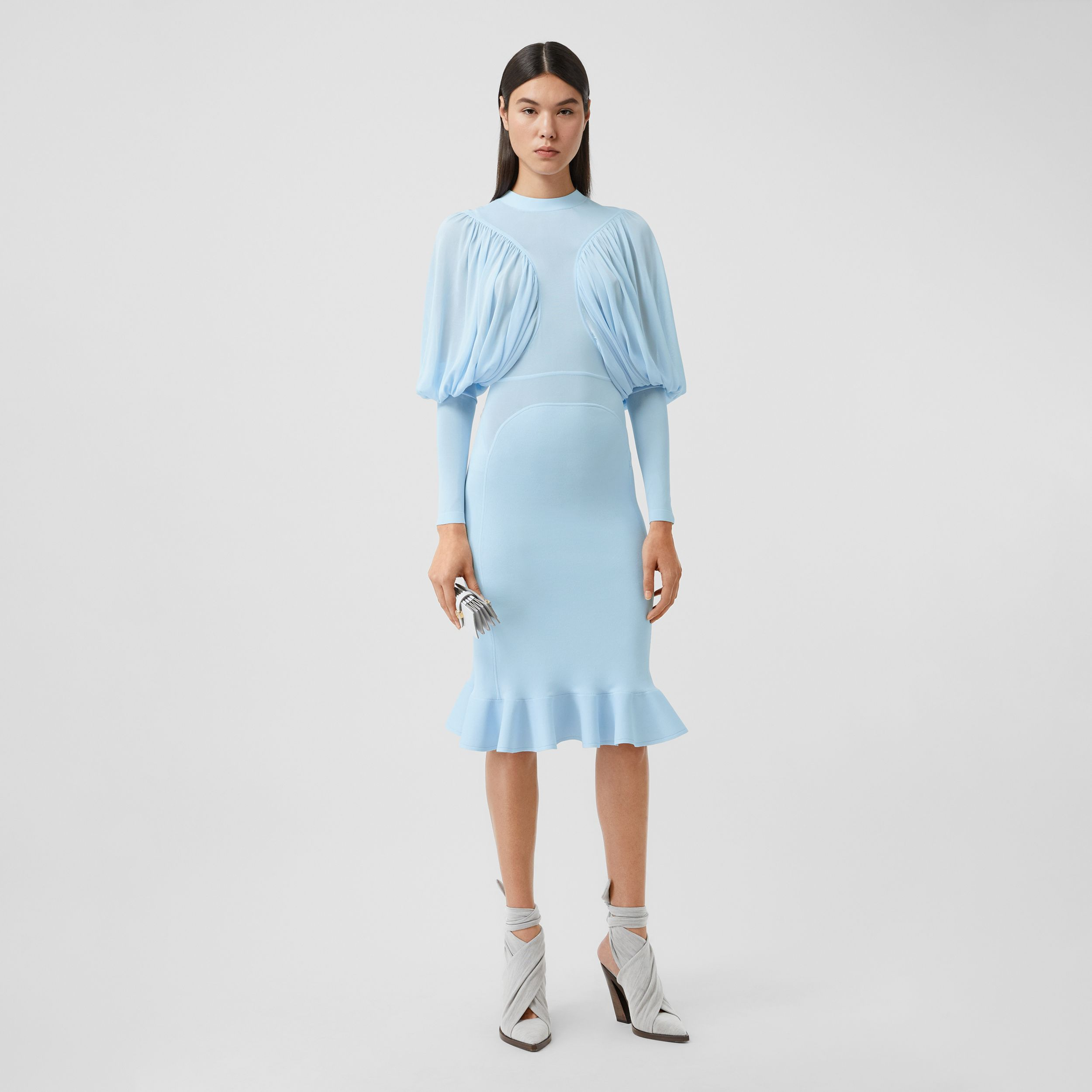 Puff-sleeve Jersey Dress in Pale Blue - Women | Burberry Canada - 1