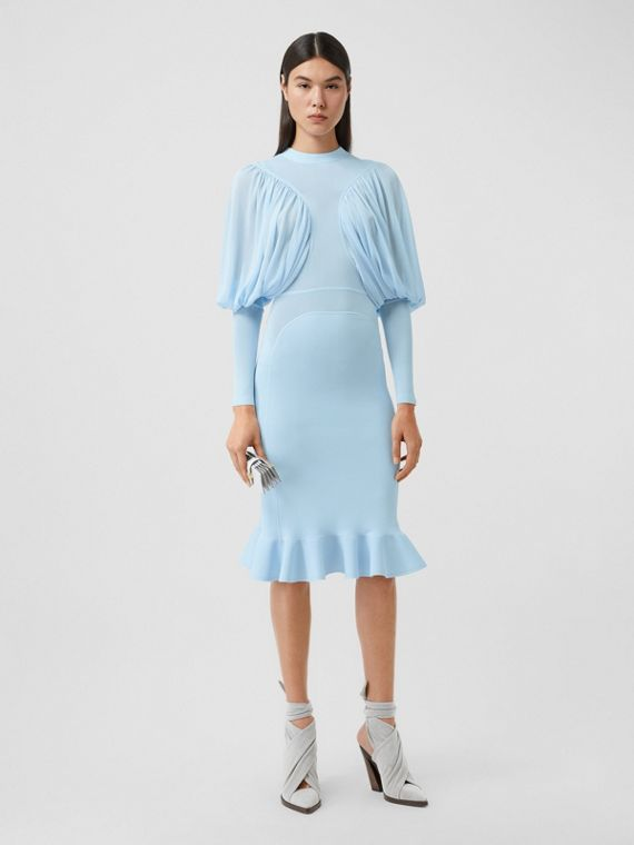 Puff-sleeve Jersey Dress in Pale Blue
