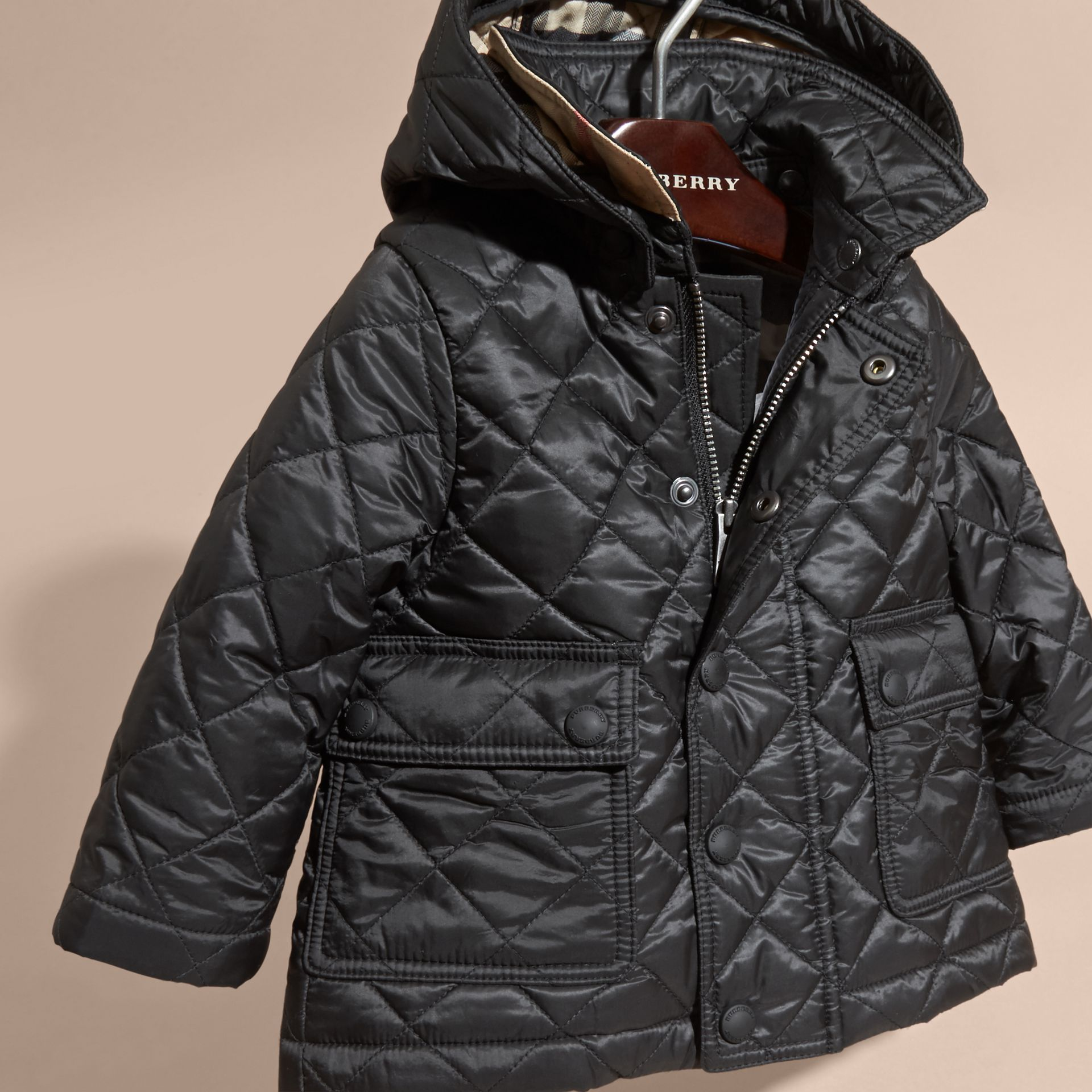 Black Check Detail Diamond-quilted Jacket Black - gallery image 3