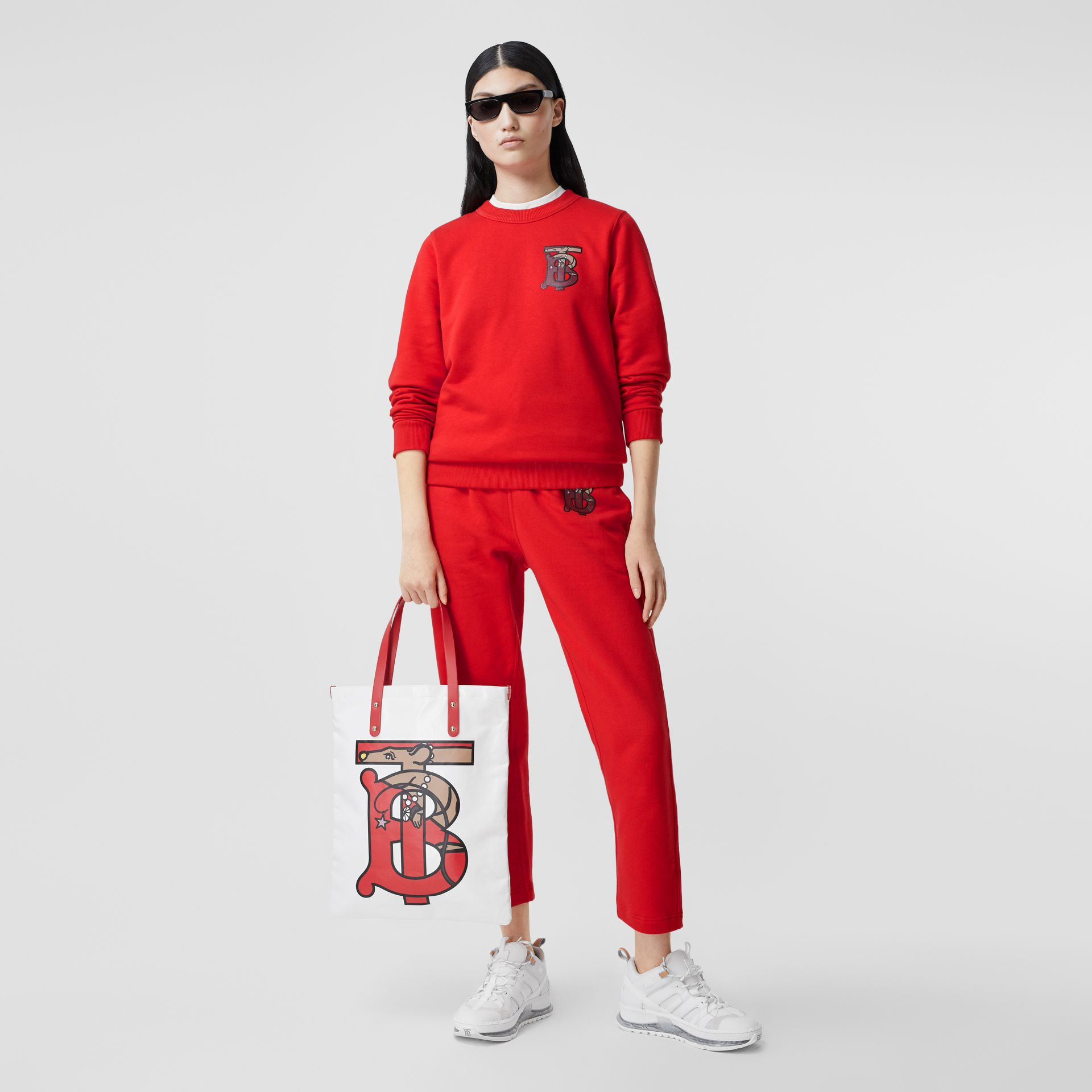Monogram Motif Cotton Trackpants in Bright Red - Women | Burberry - gallery image 0