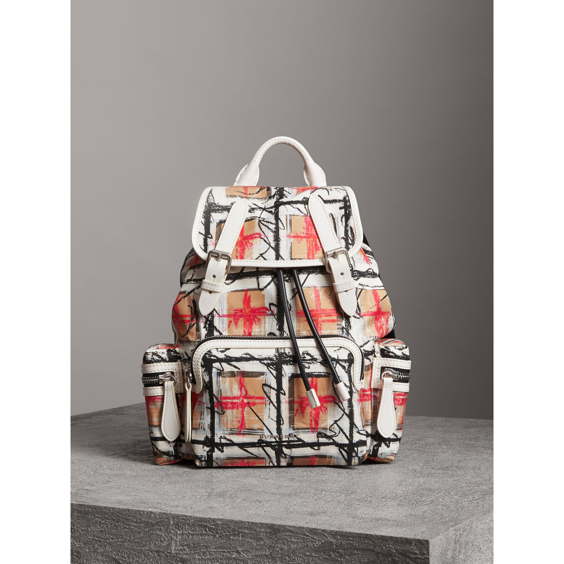 The Medium Rucksack in Scribble Vintage Check in Chalk White - Women | Burberry United Kingdom - gallery image 4