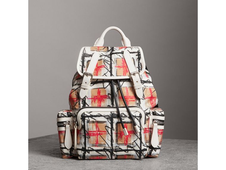 The Medium Rucksack in Scribble Vintage Check in Chalk White - Women | Burberry United Kingdom - cell image 4