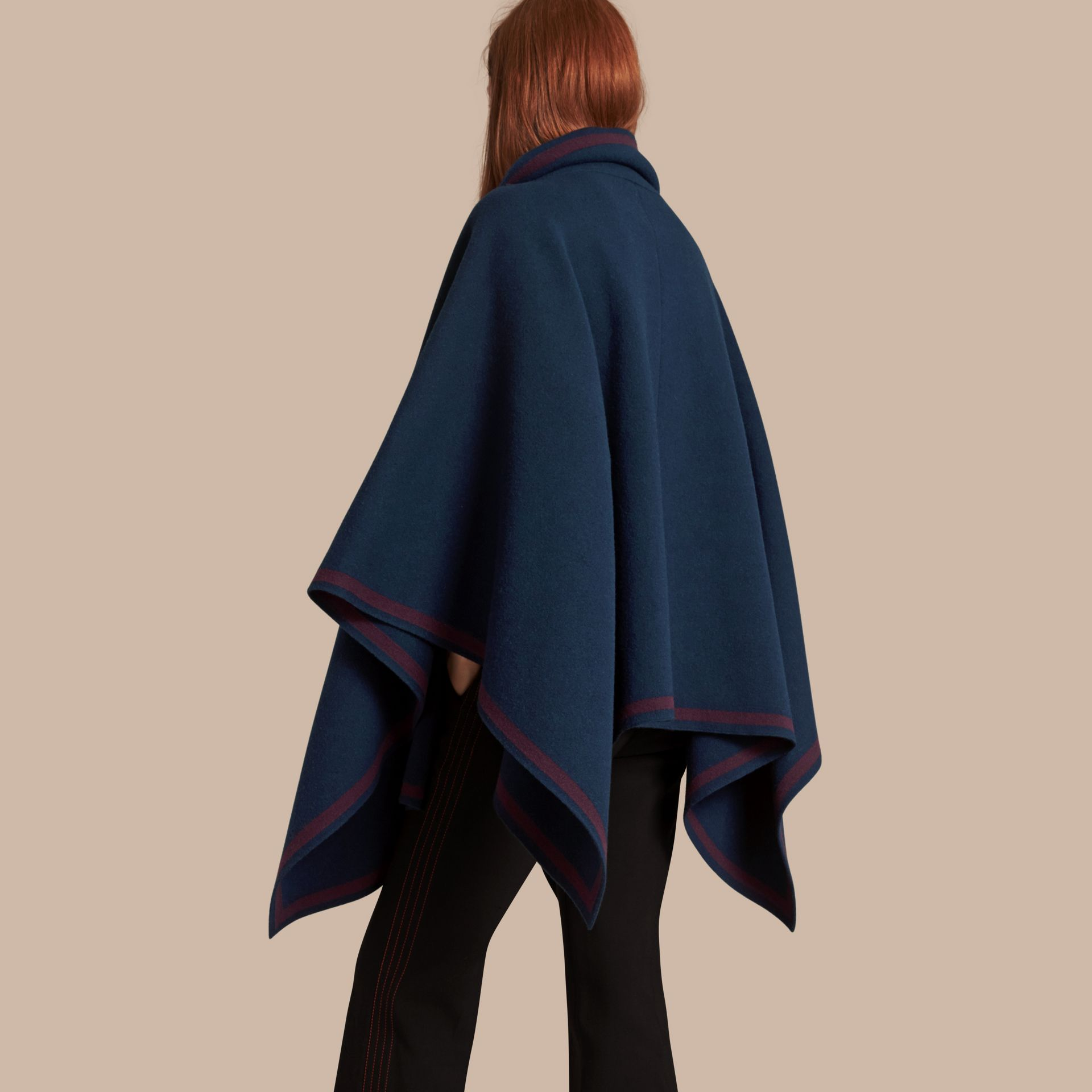 Ink blue/burgundy Wool Cashmere Blend Poncho Ink Blue/burgundy - gallery image 3