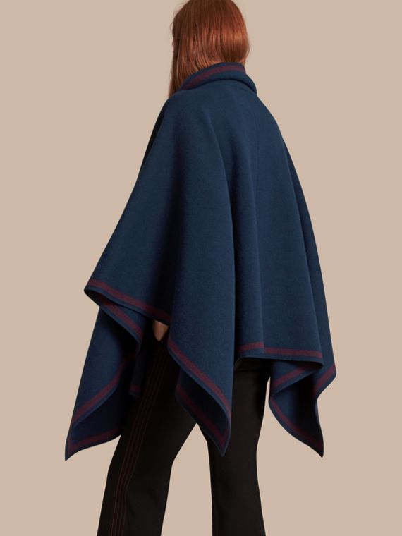 Ink blue/burgundy Wool Cashmere Blend Poncho Ink Blue/burgundy - cell image 2