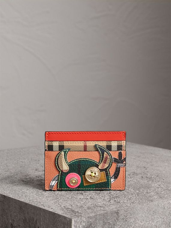 Creature Appliqué Leather Card Case in Pale Cameo Rose - Women | Burberry United States - cell image 3