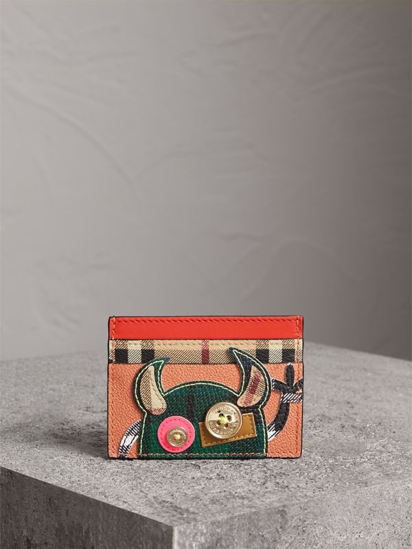 Creature Appliqué Leather Card Case in Pale Cameo Rose | Burberry - cell image 3