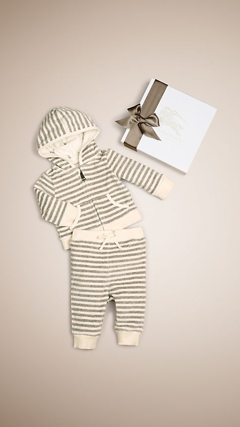 Grey melange/natural white Velour Stripe Two-Piece Set - Image 1