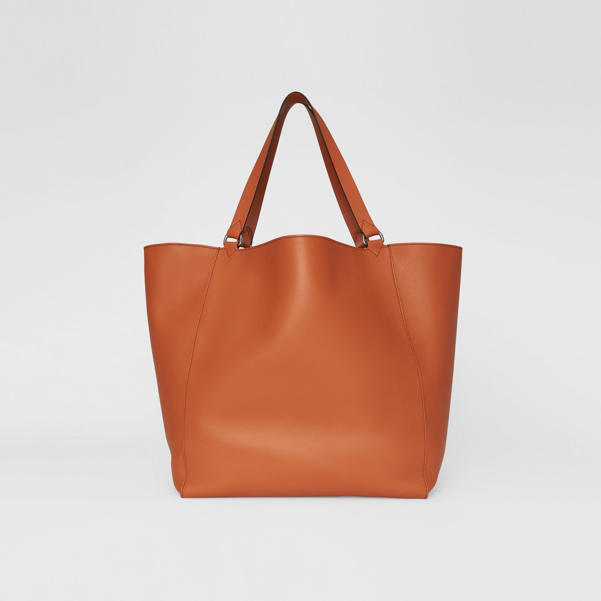 Large Embossed Crest Bonded Leather Tote in Bright Tan | Burberry - gallery image 5