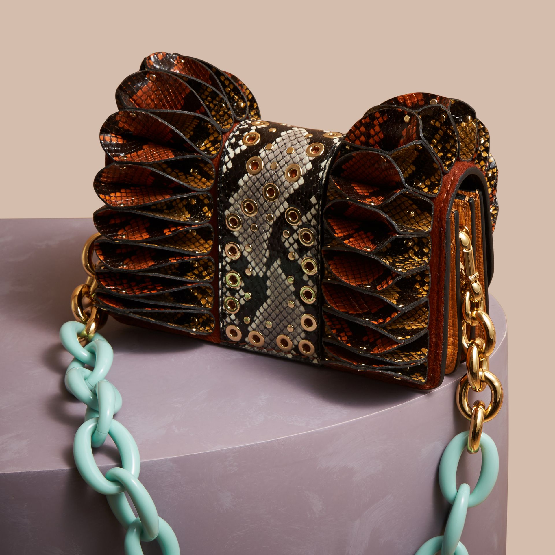 Redwood The Ruffle Buckle Bag in Snakeskin and Calfskin - gallery image 6