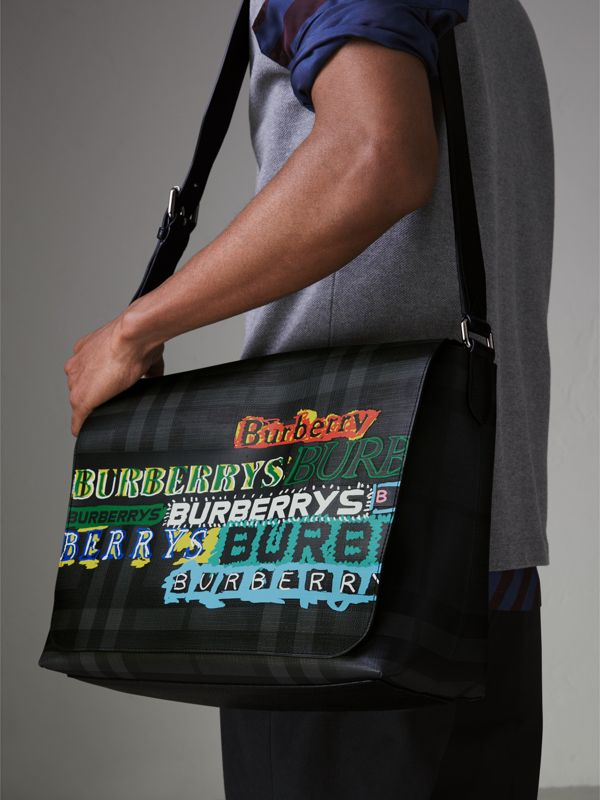 Large Logo Print Messenger Bag in Charcoal - Men | Burberry - cell image 3