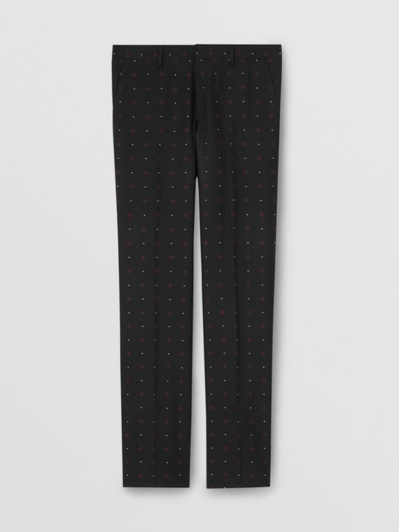 Classic Fit Fil Coupé Wool Cotton Tailored Trousers in Black