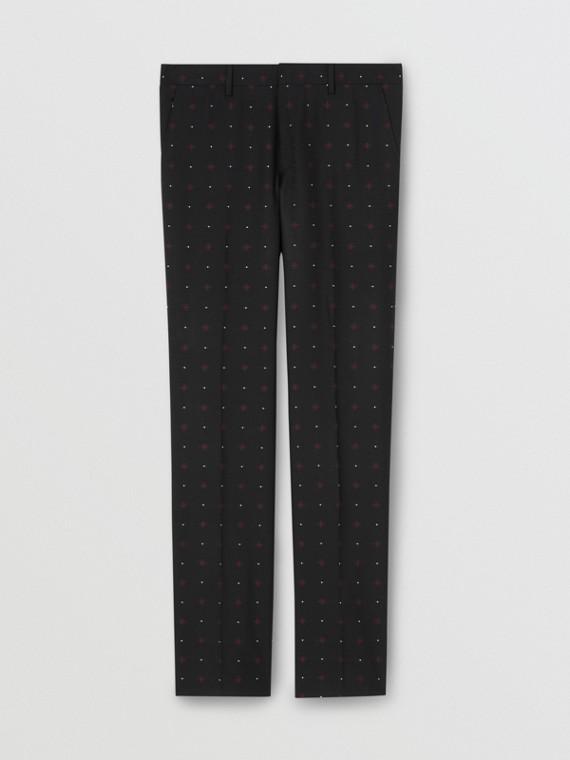 Pantaloni sartoriali dal taglio classico in lana e cotone con lavorazione a fil coupé (Nero)