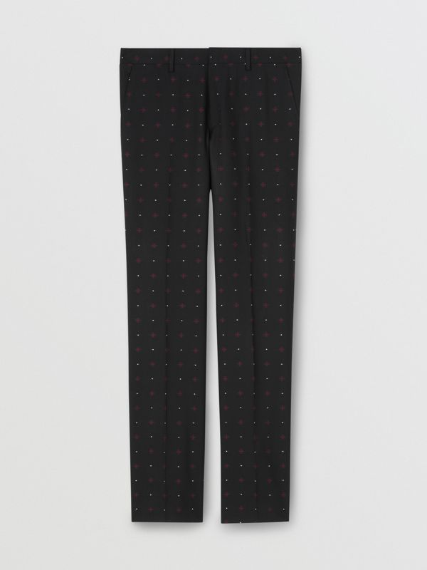 Classic Fit Fil Coupé Wool Cotton Tailored Trousers in Black - Men | Burberry - cell image 3