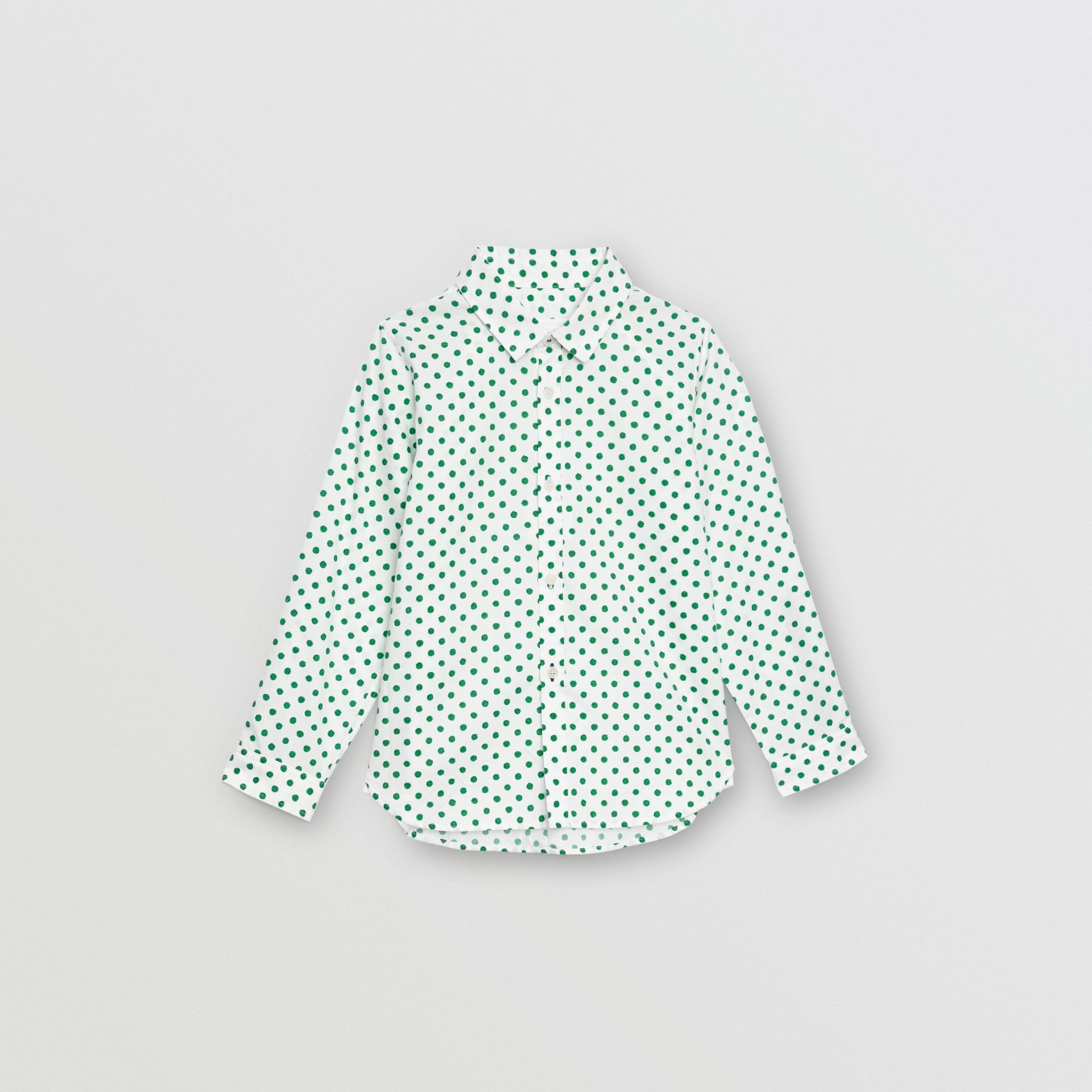 Polka Dot Cotton Oxford Shirt in Emerald Green | Burberry - gallery image 0