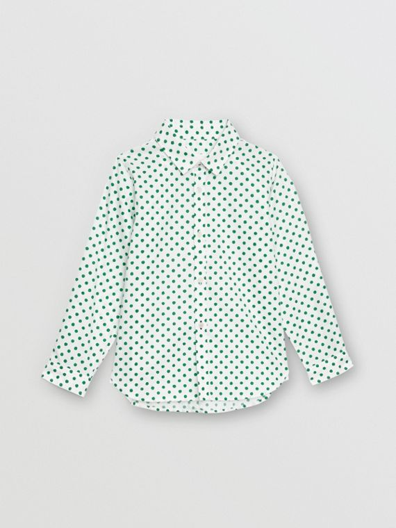 Polka Dot Cotton Oxford Shirt in Emerald Green