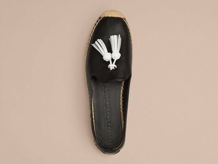 Black Tasselled Leather Espadrilles - cell image 2