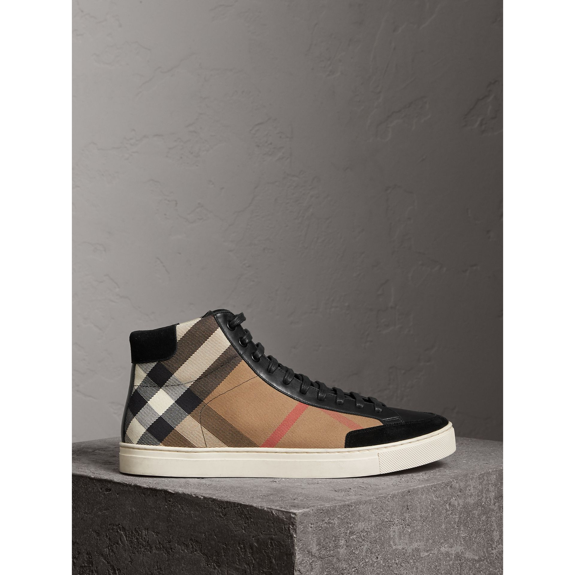 House Check and Leather High-top Trainers in Black - Men | Burberry - gallery image 5