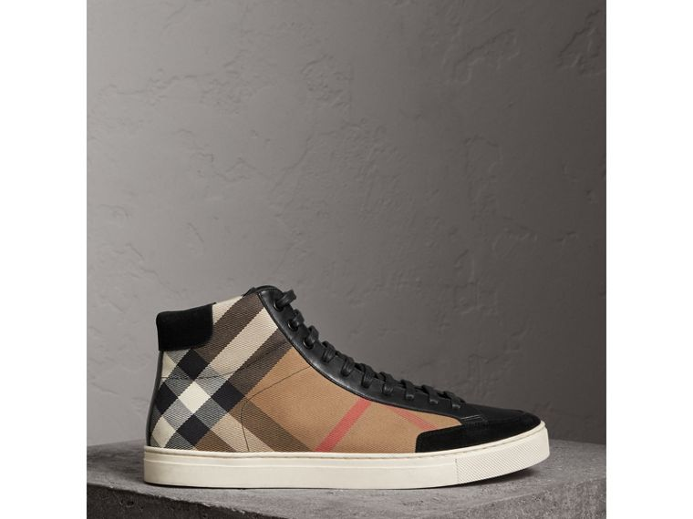 House Check and Leather High-top Trainers in Black - Men | Burberry - cell image 4