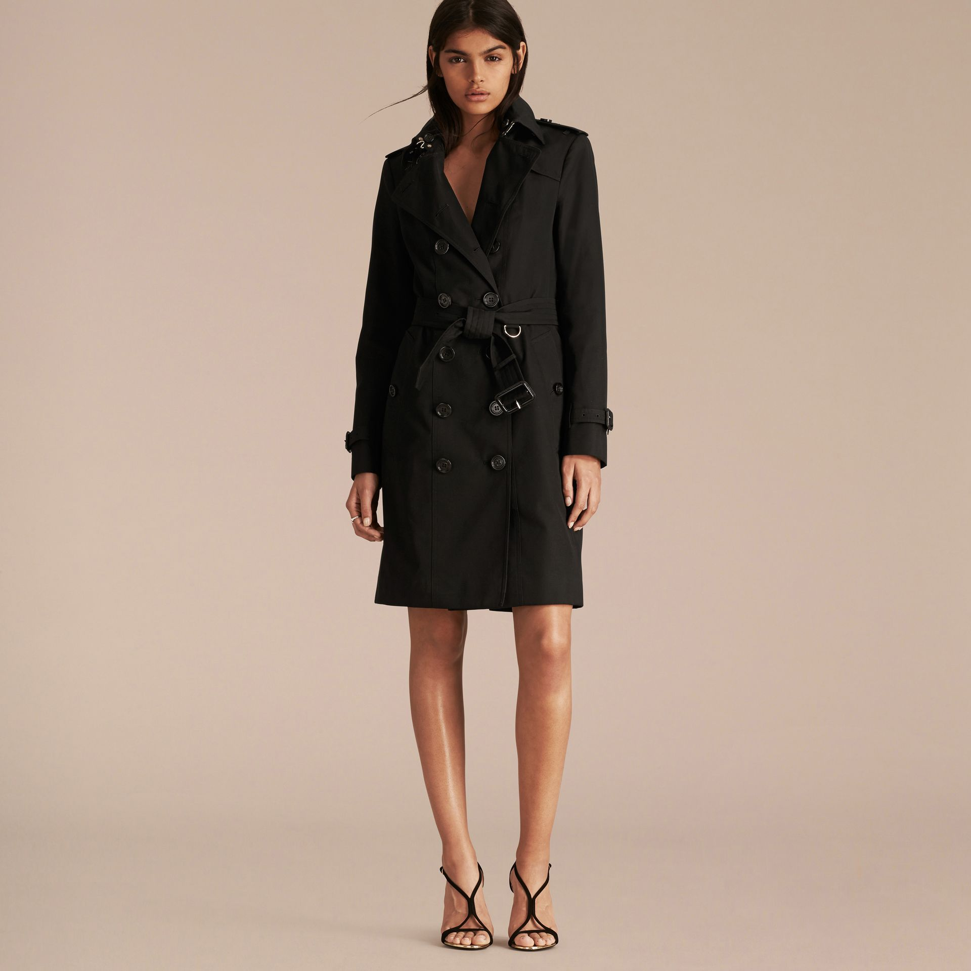 Black Cotton Gabardine Trench Coat with Detachable Fur Trim - gallery image 7