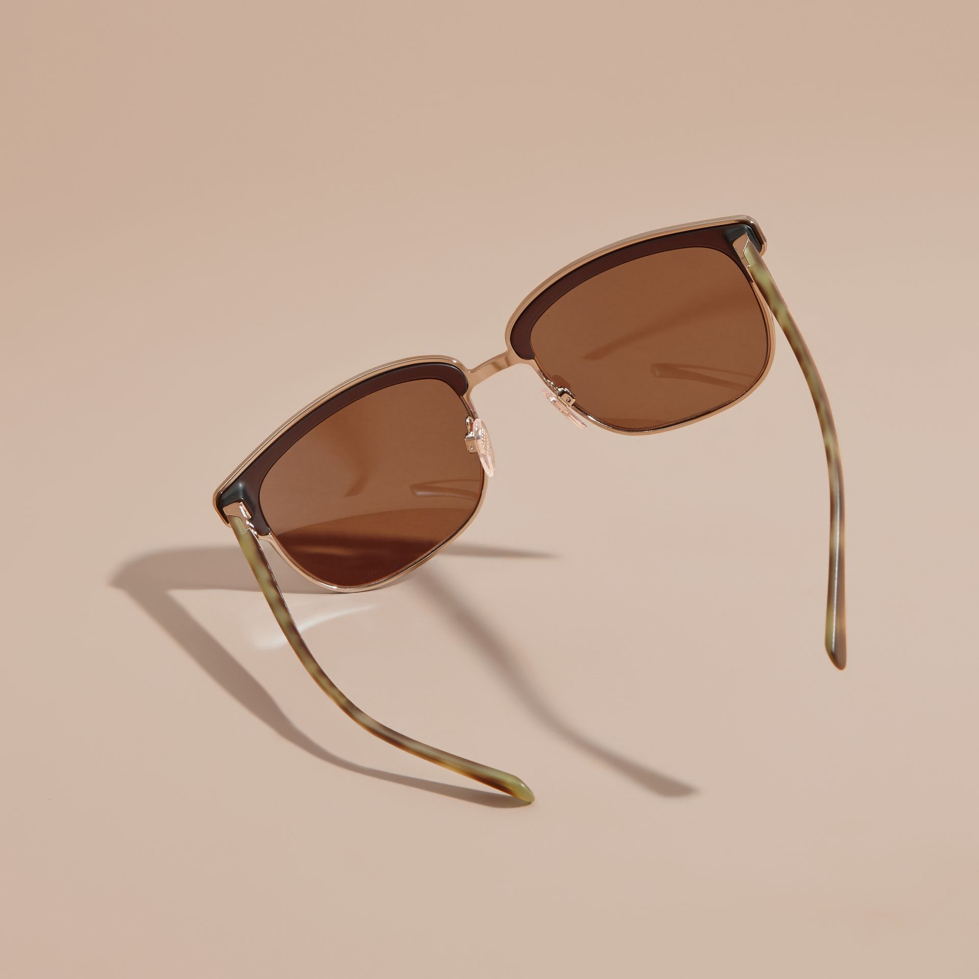 Textured Front Square Frame Sunglasses in Brown - Men | Burberry - gallery image 4