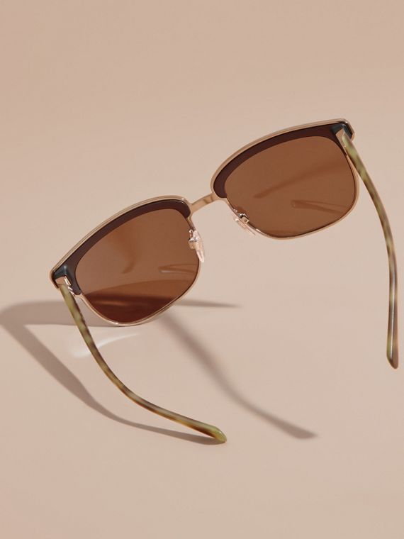 Textured Front Square Frame Sunglasses in Brown - Men | Burberry - cell image 3